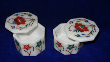 Set of 2 Pics White Marble Ring Box Carnelian Mosaic Floral Inlay Handmade Gift