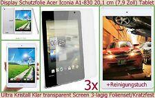 3 x Kristall Klar Display Schutz Folie Acer Iconia A1-830 Tablet Kratzfest Clear