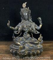 """8.8 """"Temple du Bouddhisme Tibet Bronze Doré 4 bras Statue de Lotus Bouddha"""