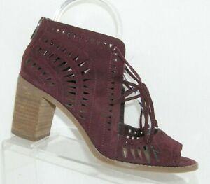 Vince Camuto Tarita purple suede laser cut out zip lace up sandal heels 8M
