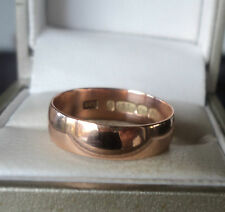 Vintage EARLY 9ct Rose Gold Plain Wedding Band Ring 1916 Birmingham - size N