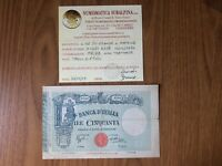 BANCONOTA LIRE 50 MATRICE FASCIO 12 12 1934 certificata MB/BB SUBALPINA