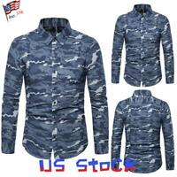 Fashion Men's Long Sleeve Dress Shirts Camo Printed Tee Slim Fit Tops Casual US