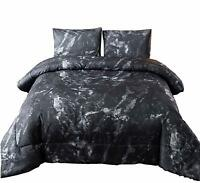 Marble Pattern Comforter Set Ultra Soft Quilt Doona Bed-in-a-Bag Queen Size