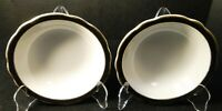 "Jackson China Restaurant Ware Cereal Bowls 6 1/4"" Black Band Gold Set of 2"