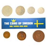 SWEDEN SET OF 7 COINS KING GUSTAF VI ADOLF SWEDISH CURRENCY COLLECTION LOT