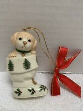 Lenox Spode Fine Porcelain Christmas Ornament Puppy Dog In Boot Stocking & Gold