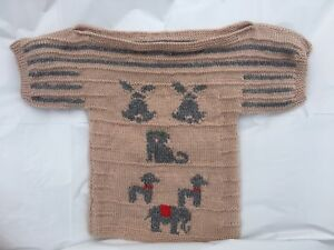 Hand Knitted Kids Beige Jumper With Boat Neck