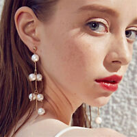 Women Elegant Big Simulated Pearl Long Tassel Earrings Drop Dangle Jewelry Gift