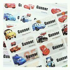 80 Disney Cars Stickers Movie Waterproof Name Labels Fire Truck Pixar Kid School