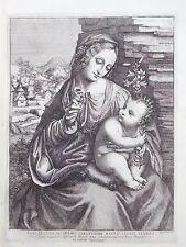 17th Century Renaissance Leonardo Da Vinci Madonna Baby Jesus Copper Engraving !