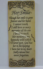 Memorial Wall Or Garden Plaque Her Smile Sentimental Verse Aged Appearance Small