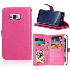 Synthetic Leather Wallet Case Flip Cover 9 Card Pockets Kickstand for Phones
