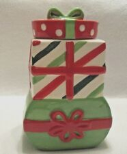 """8"""" Ceramic Christmas Canister Candy Cookie Jar With Lid SCM Designs Red Green"""