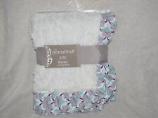 The PeanutShell Zoe Baby Blanket White Purple Faux Fur Flowers Satin Ruffle NEW