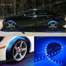 "4x 24"" Blue LED Wheel-Well Neon Glow Flexible Strip Lights Car Fender Lamps Kit"