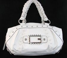 NEW GUESS BY MARCIANO JANICE WHITE LEATHERETTE TOP ZIP SATCHEL,HANDBAG,PURSE