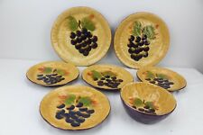 Botanica Hand-Painted Collection Grapes 7 Pieces Plates Bowl