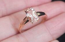 New 10K Sz9 1.65ct Natural Pink Morganite solitaire Engagemen Ring Rose Gold
