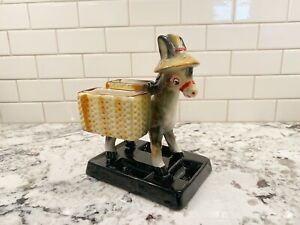 Vintage Pottery Donkey Mule With Cart Wagon Planter Or Trinket