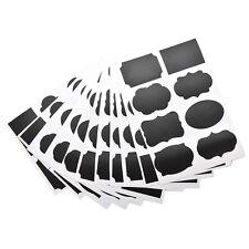 8x Multi Shape Small Chalk Black Board Mason Jar Labels Stickers Chalkboard CWL