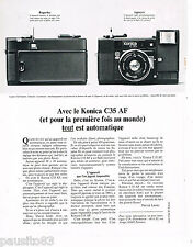 PUBLICITE ADVERTISING 065  1980  KONICA C 35 AF  appareil photo