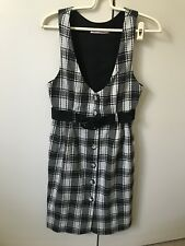 Kate Hurst Belted Tank Pinafore Dress SiZe 6 Ivory Cream Black Tartan Grid Check