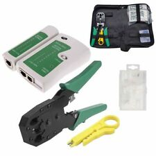 RJ45 CAVO di RETE Ethernet Tester crimpare CRIMPER Stripper Cutter Tool Kit Set