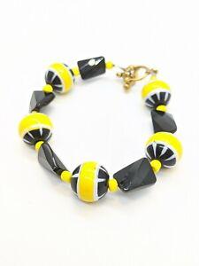 Gold Tone Black Yellow White Glass Bead Toggle Bracelet