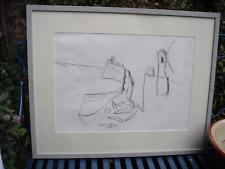 Charcoal Drawing - Cornish Artist Julian Dyson (1936-2003) Portreath Harbour '94