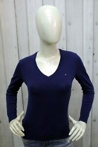 Maglione Tommy Hilfiger Donna Taglia S Sweater Cotone Maglietta Manica Lunga