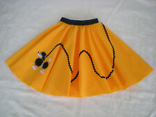"""Girls/Childs Rock n Roll """"Poodle"""" Skirt & Scarf. Size 6-8 Yellow."""