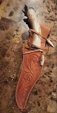 Custom Hand Carved Stag Handle Embossed Blade