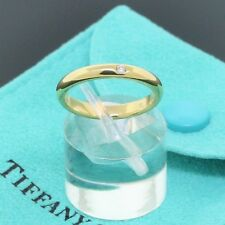 Tiffany & Co. Elsa Peretti 18K Yellow Gold Diamond Stack Band Ring Size 5