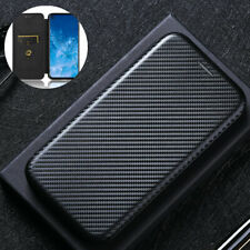 For Motorola Moto One Action, Luxury Flip Carbon Fiber Wallet Card Case Cover