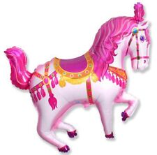 "CIRCUS PONY CAROUSEL HORSE PINK SUPERSHAPE BALLOON PARTY 29"" FOIL BALLOON"