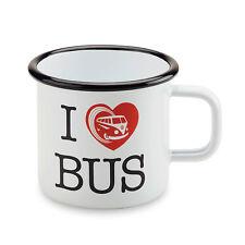 "Original Volkswagen Becher T1 Emaille Tasse Kaffeebecher ""I ♥ Bus"" 7E0069601"