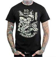 Lucky 13 Glow In The Dark Gambling Girl Biker Tattoo Punk Mens T Tee Shirt S-2Xl