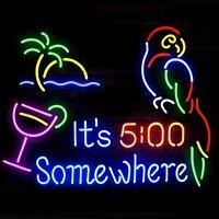 "Neon It's 5:00 Somewhere Parrot Coco Beer Bar Shop Open Neon Sign Light 17""x14"""