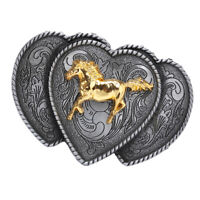 Vintage Western Triple Hearts Belt Buckle Cowgirl Cowboy Accessories