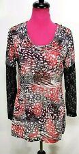Lady Noiz Top Size L Women's Red Black Animal Print Rhinestones Long Sleeve