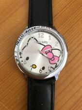 Hello Kitty Watch With Black PU Leather Straps