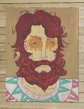 The Owl | Beard Series | 9x12 Archival Art Prints | bearded hipster painting art