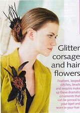 LADIES~GLITTER CORSAGE AND HAIR FLOWERS~BEADS/SEQUINS  KNITTING PATTERN~ (BP 86)