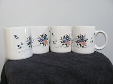 Set 4 Ceramic Coffee Mugs Cups Floral Flowers Pink Purple Blue                29