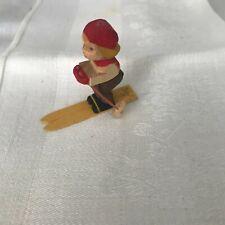 ERZGEBIRGE Germany Dwarf Miniature Skier Wood Christmas