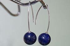 Runde Echtschmuck mit Lapis Lazuli-Hauptstein und Hakenverschluss Ohrschmuck