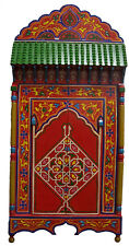 Moroccan Wall Mirror w/Doors Hand Painted Arabesque Handmade Decor XL Red