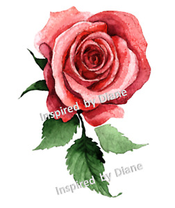 Furniture WATERSLIDE Decal Transfer Image vintage -flower floral red rose/345