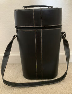 Van's Gift Wine Alcohol Two-Bottle Bag Tote Carrier Holder Black Faux Leather